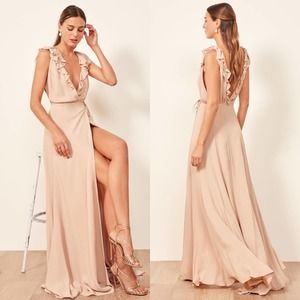 New Reformation Peppermint Maxi Bridesmaid Dress Champagne Size Large